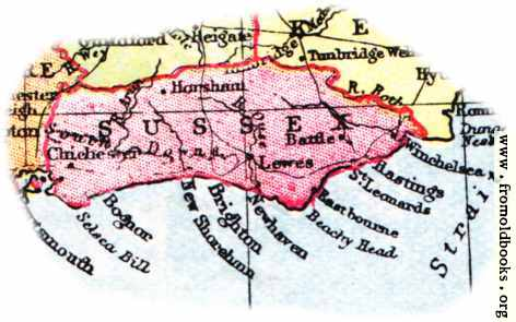 [Picture: Overview map of Sussex, England]