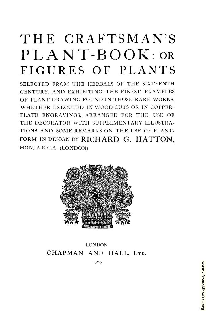 [Picture: Title Page, Craftsman's Plant Book]