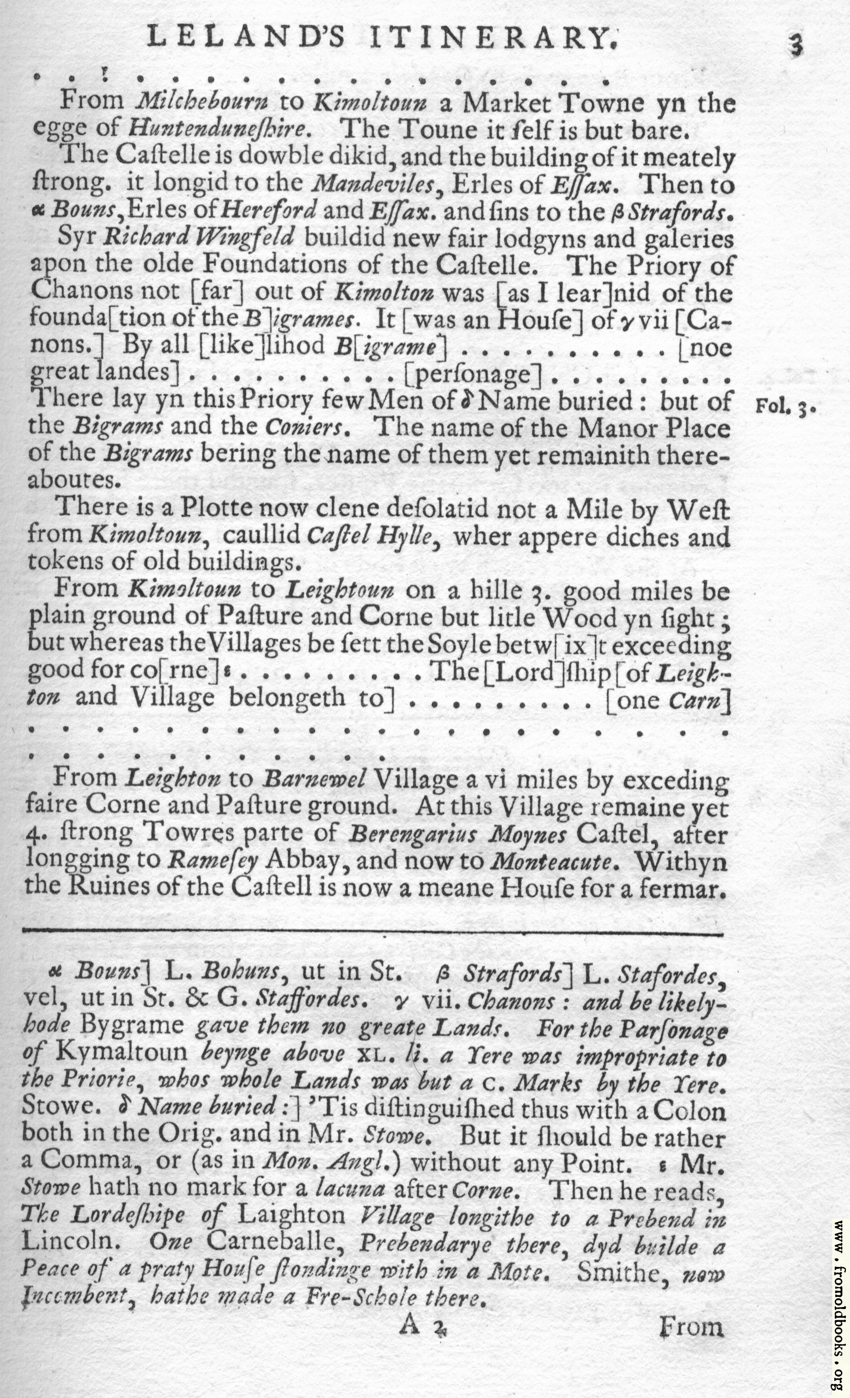 [Picture: Leland's Itinerary, Volume 1 Page 3]