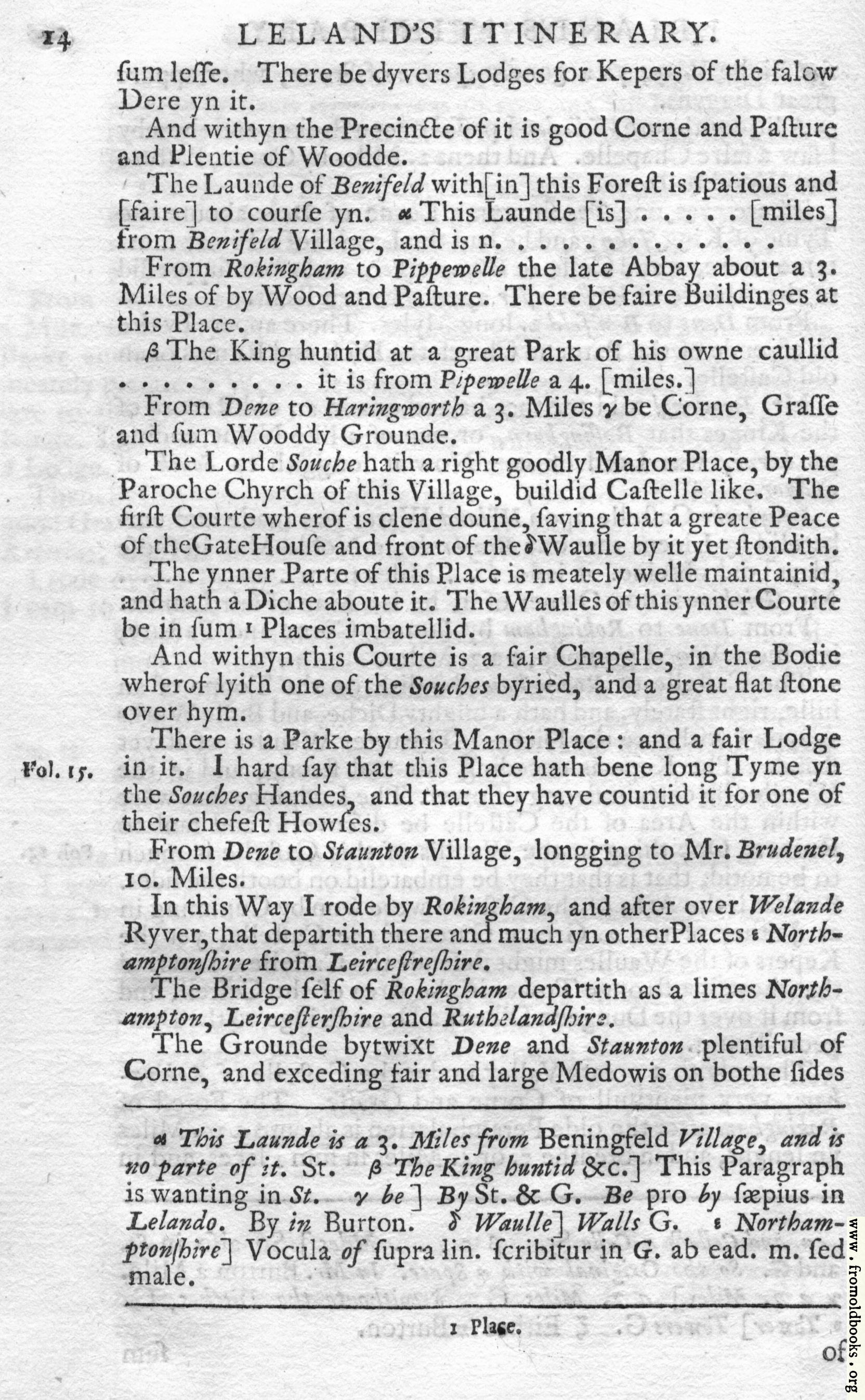 [Picture: Leland's Itinerary, Volume 1 Page 14]