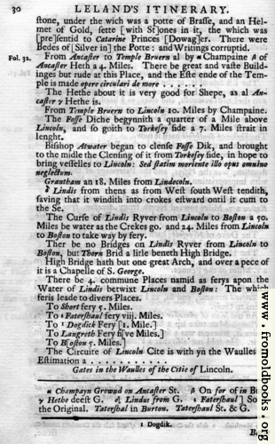 [Picture: Leland's Itinerary, Volume 1 Page 30]