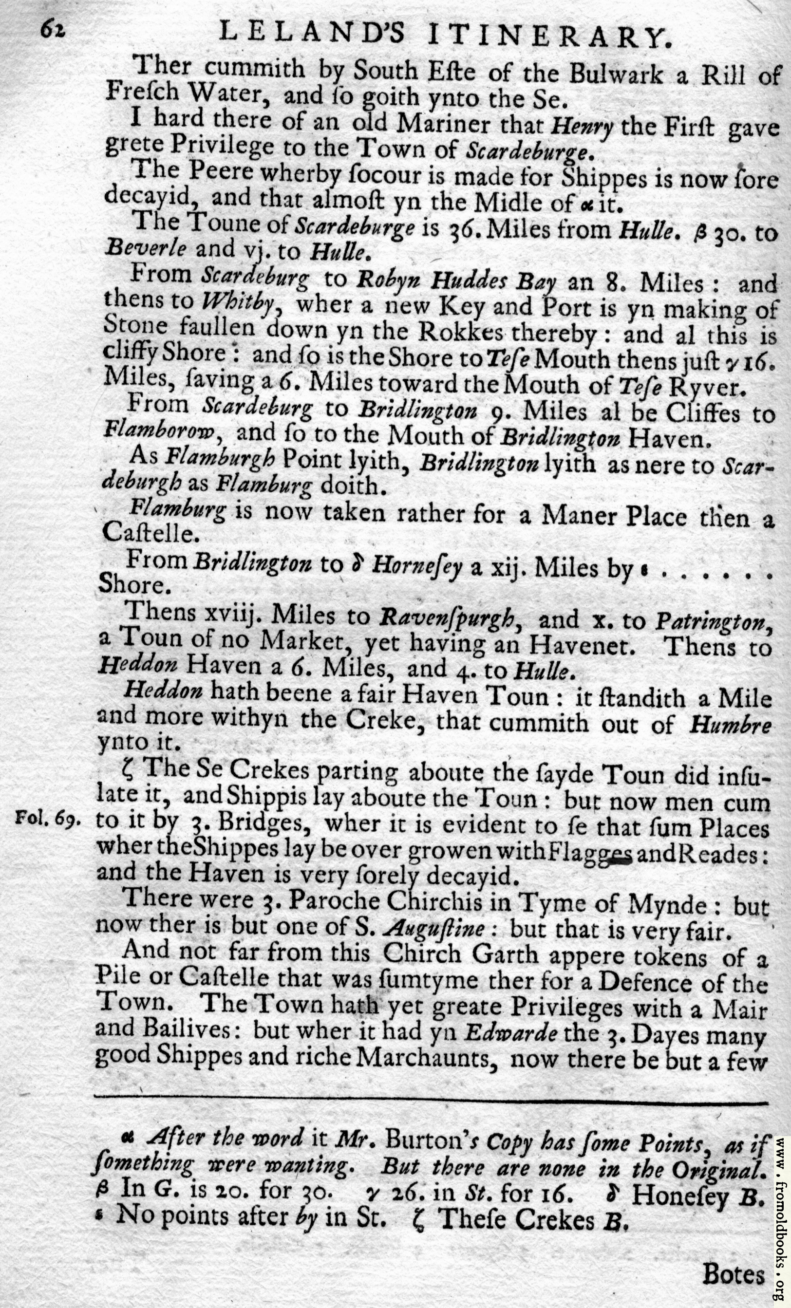 [Picture: Leland's Itinerary, Volume 1 Page 62]