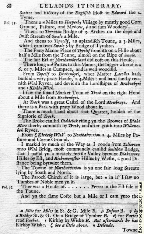 [Picture: Leland's Itinerary, Volume 1 Page 68]