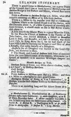 [Picture: Leland's Itinerary, Volume 1 Page 70]