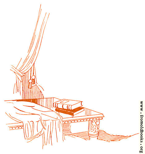 [Picture: Drawing: book on elegant table near Curtans]