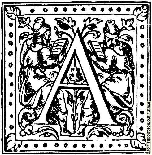 "[Picture: Initial Capital Letter ""A"" With Scholars]"