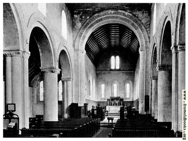 [Picture: 43. St. Margarets at Cliffe, Kent, with its Normon clerestory [interior view]]