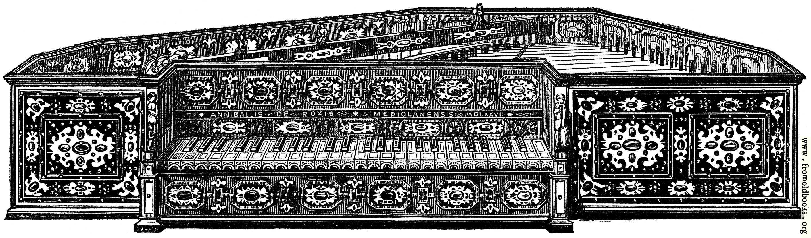 [Picture: Musical Instruments at the South Kensington Museum: R.—Spinet]