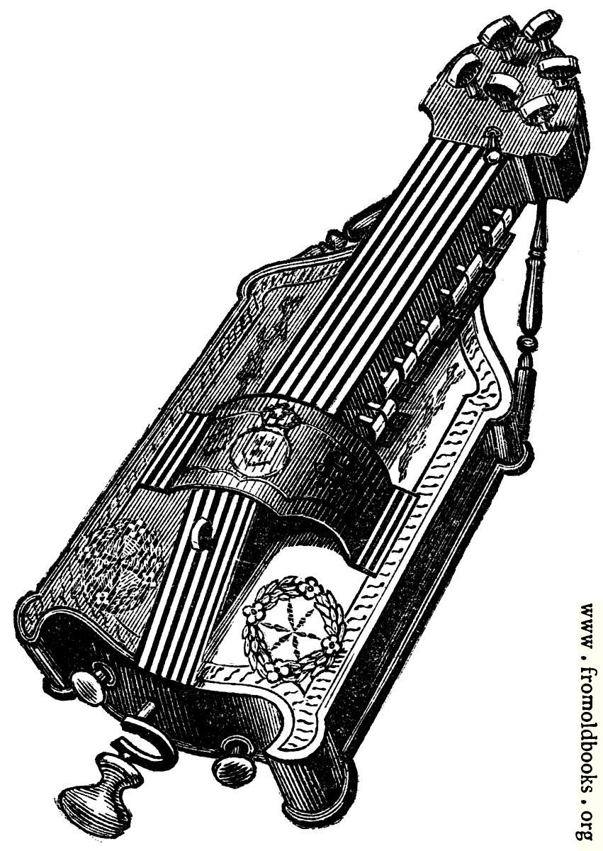[Picture: Musical Instruments at the South Kensington Museum: H.—Vielle, or Hurdy-Gurdy]