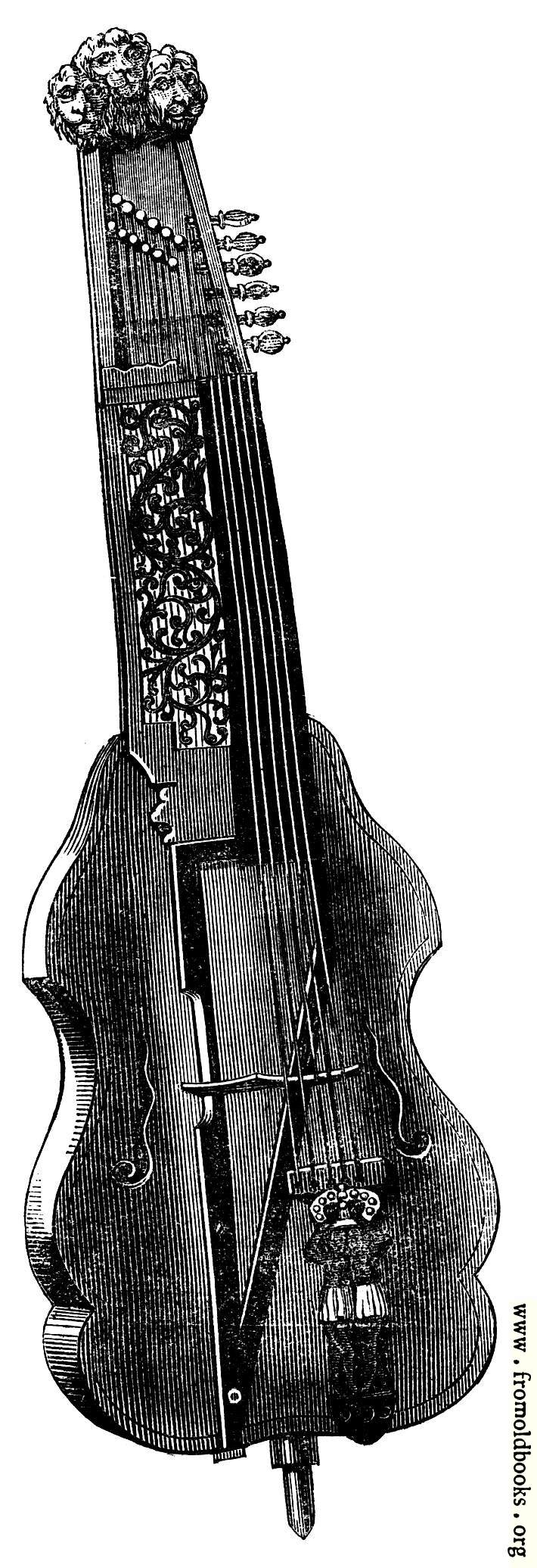 [Picture: Musical Instruments at the South Kensington Museum: N.—Viola di Bordone]