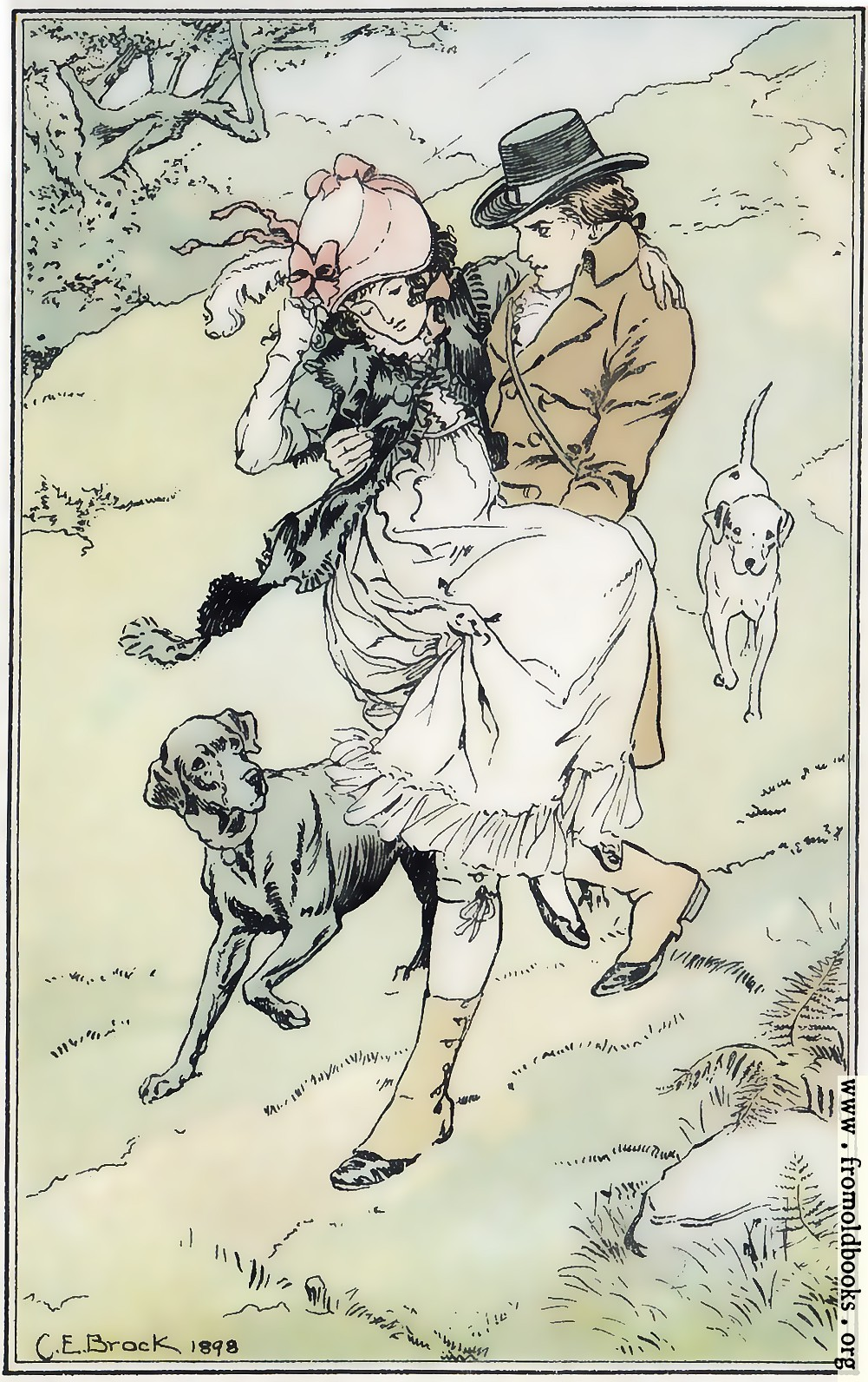 [Picture: The gentleman offered his services, took her up in his arms, and carried her down the hill.]