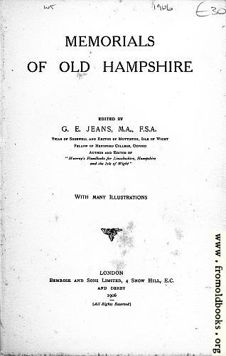 [Picture: Title Page, Memorials of Old Hampshire]