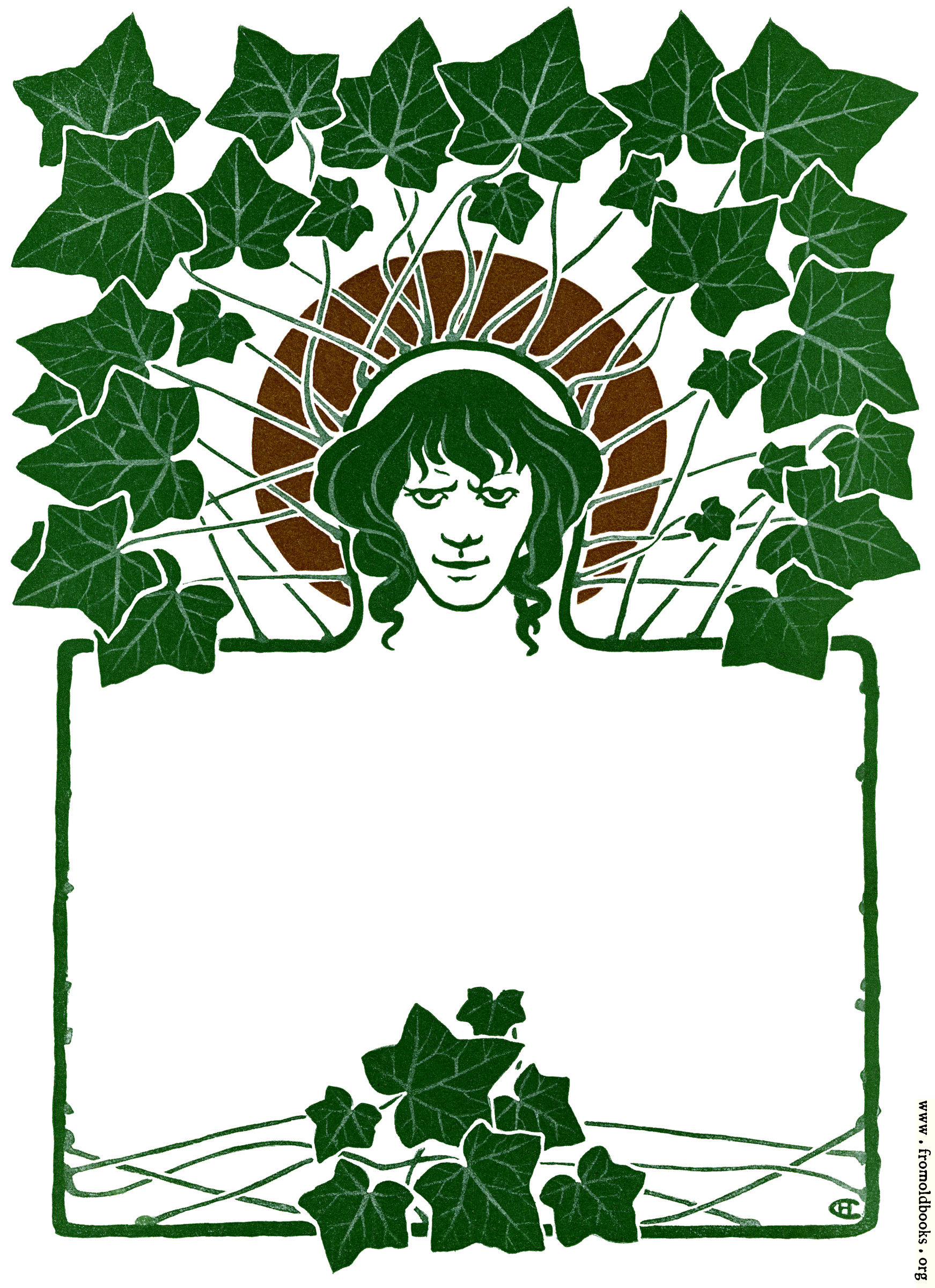 [Picture: Art Nouveau Border with ivey leaves and face.]