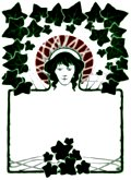 Art Nouveau Border with ivey leaves and face.