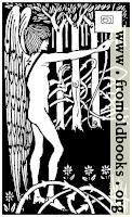 Art Nouveau Nude Archer in Forest