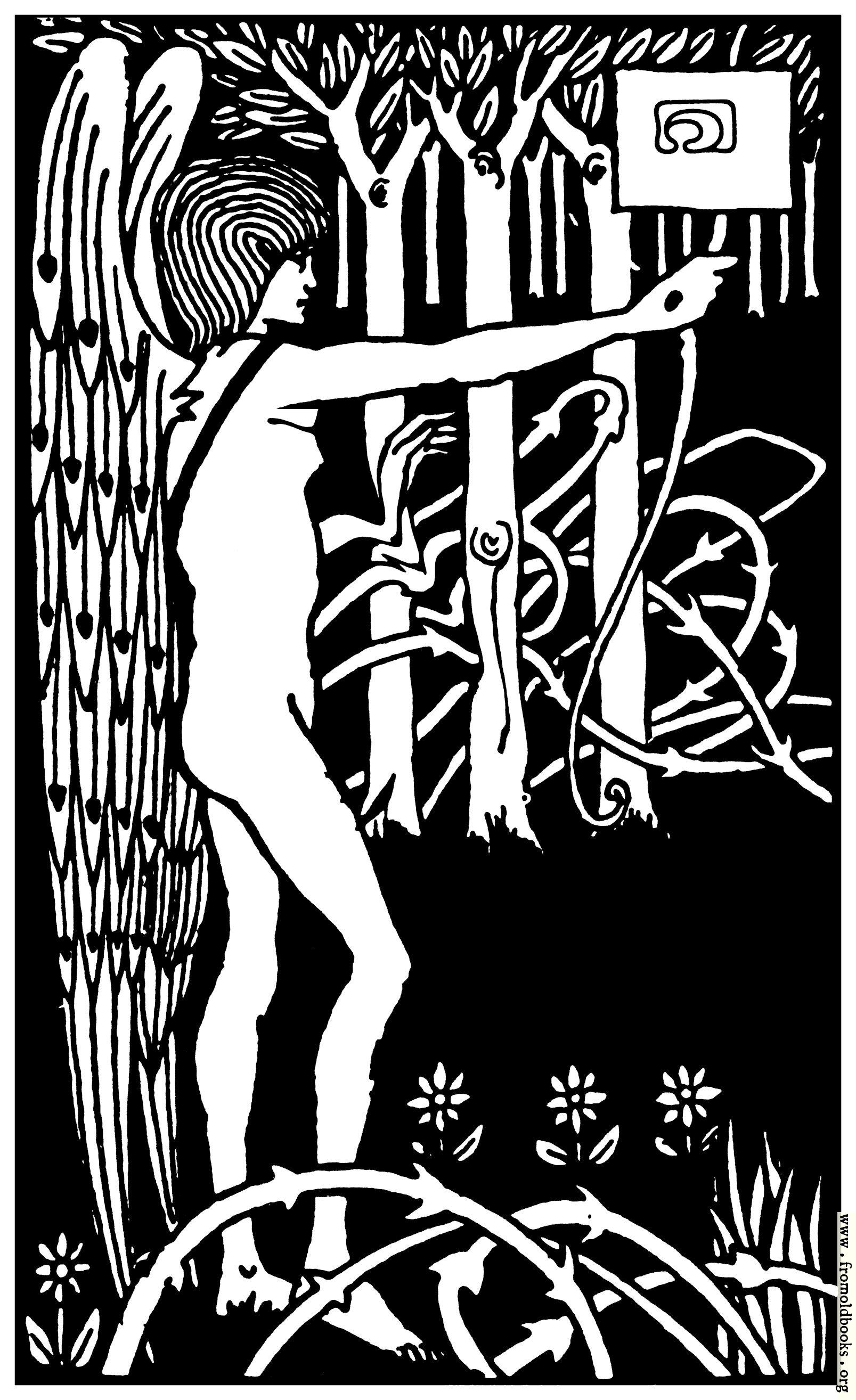 [Picture: Art Nouveau Nude Archer in Forest]