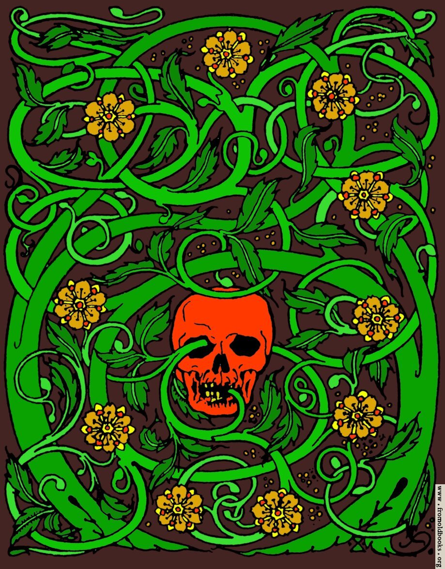 [Picture: Goth skull with vines, colour version]