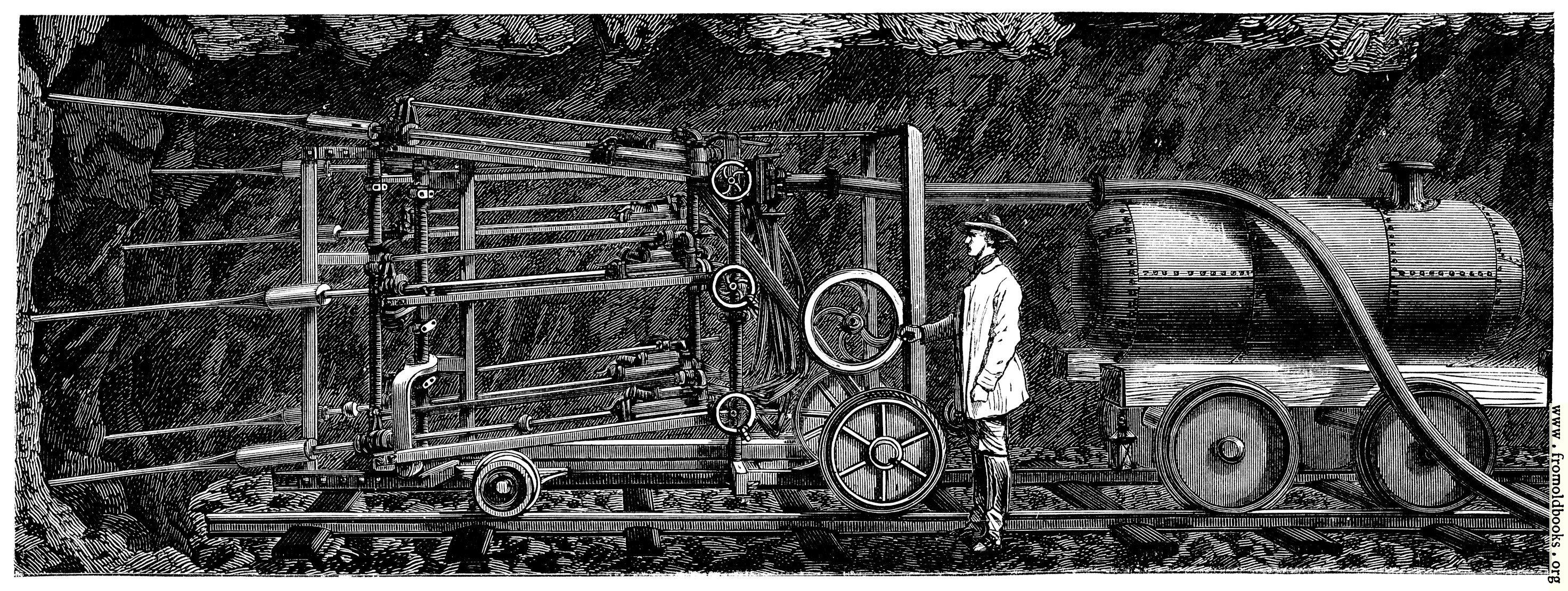 [Picture: Le Tunnel du Saint-Gothard.—Machine à perforer, mue par l'air comprimé]