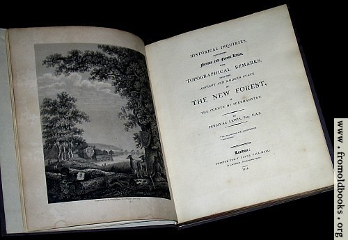 [Picture: Title page and Frontispiece (Laws of the New Forest)]