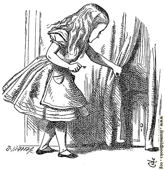[Picture: Alice Looking for the Door]