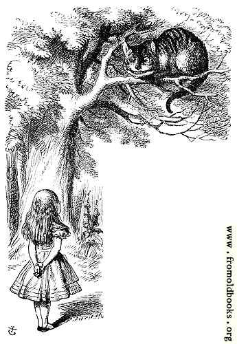 [Picture: Alice speaks to the Cheshire Cat]