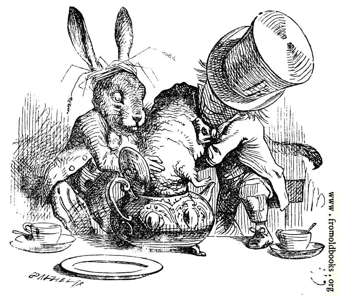 [Picture: Mad Hatter and March Hare dunking the Dormouse]