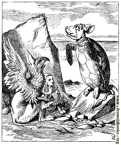 [Picture: The Mock Turtle and Gryphon sing to Alice]