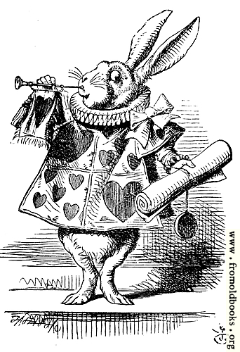 [Picture: White Rabbit, dressed as herald, blowing trumpet]