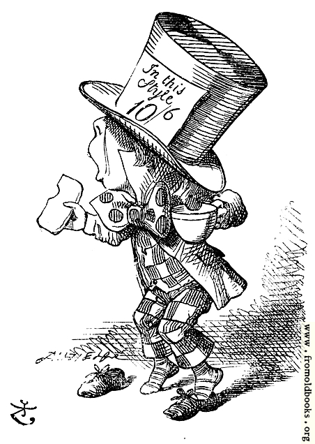 [Picture: The Mad Hatter arrives hastily in court to testify]