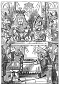 [Picture: Frontispiece: The King and Queen inspecting the tarts]