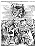 [picture: Executioner argues with King about cutting off Cheshire Cat's head]
