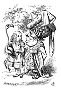 [picture: Alice (with flamingo) chats with the Duchess]