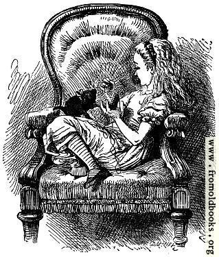 [Picture: Alice talks to the Kitten]