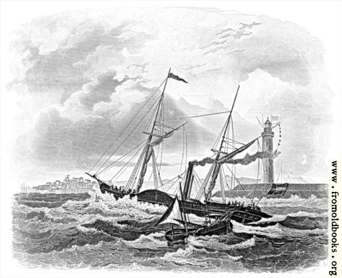 [Picture: Paddle steamer on stormy seas]