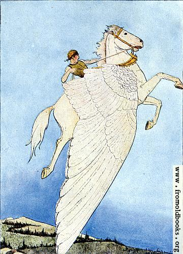 "[Picture: Frontispiece: ""Yes, there he sat, on the back of the winged horse!""]"
