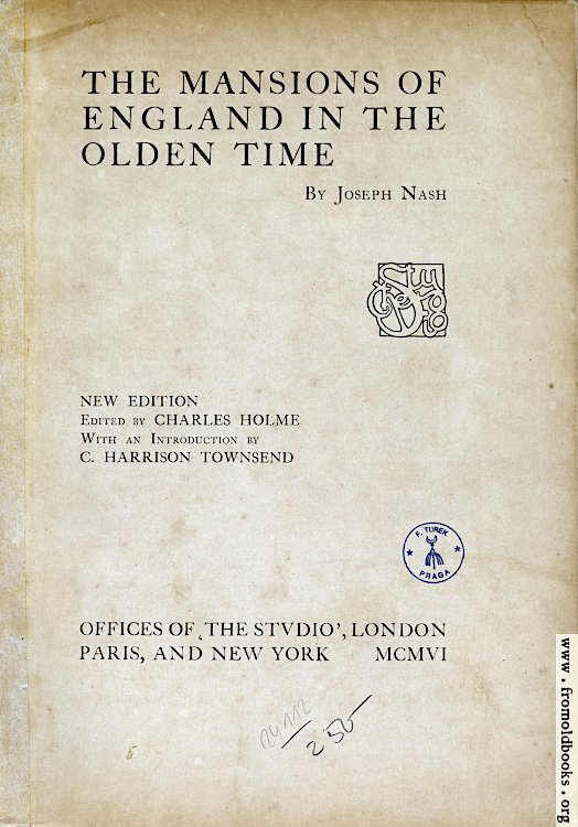 [Picture: Title Page, Mansions of England]
