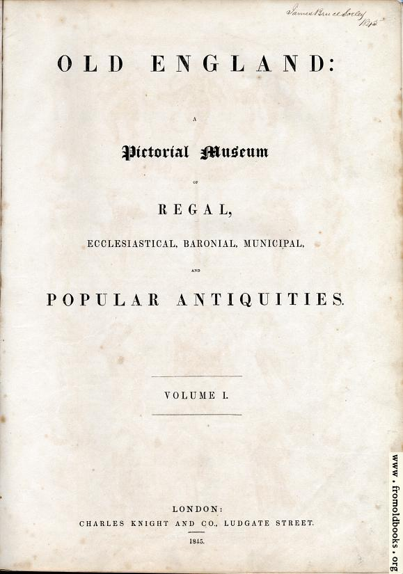 [Picture: Title Page for Volume I]