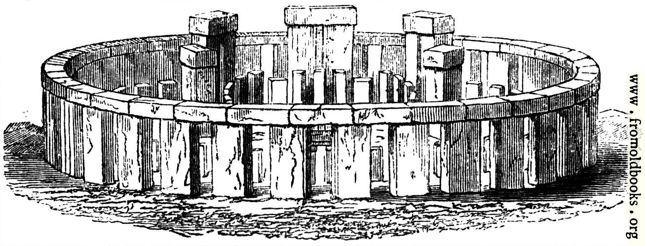 [Picture: 3.—Stonehenge.– Perspective Elevation, restored.]