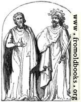 13.—Two Druids.  Bas-relief found at Autun.