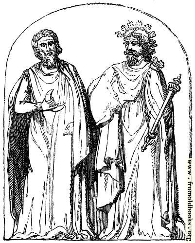 [Picture: 13.—Two Druids.  Bas-relief found at Autun.]