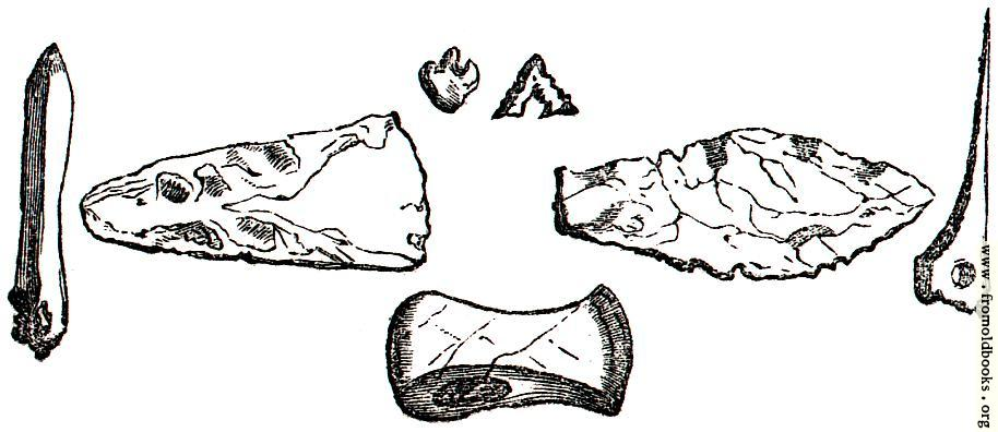 [Picture: 16.—Ancient British Weapons of bone and flint.]