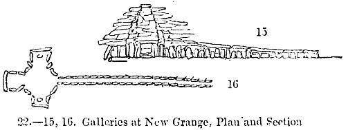 [Picture: 22.—Galleries at New Grange, Plan and Section]
