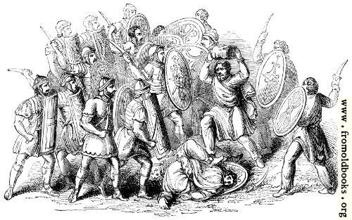 [Picture: 114.—Conflict between Romans and Barbarians.]