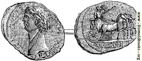 [Picture: 119.—Coin of Claudius, representing his British triumph.  From the British Museum.]