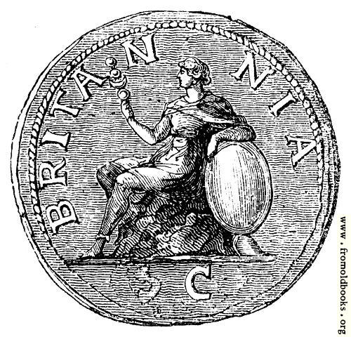 [Picture: 122.—The earliest figure of Britannia on a Roman coin.]