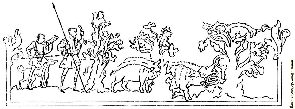 [Picture: 231.—Boar-Hunting.—(From Cotton MS.)]