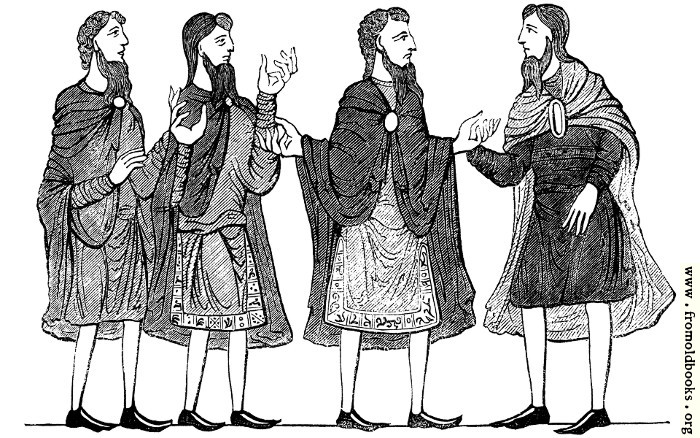 [Picture: 285.—Saxon Cloaks, Plain and Embroidered Tunics, and Shoes. (Cotton MS.)]