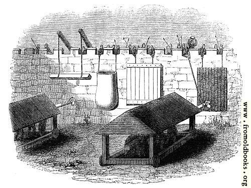 [Picture: 868.—Machines used for the Defence of Stone Walls against the action of Battering rams.]
