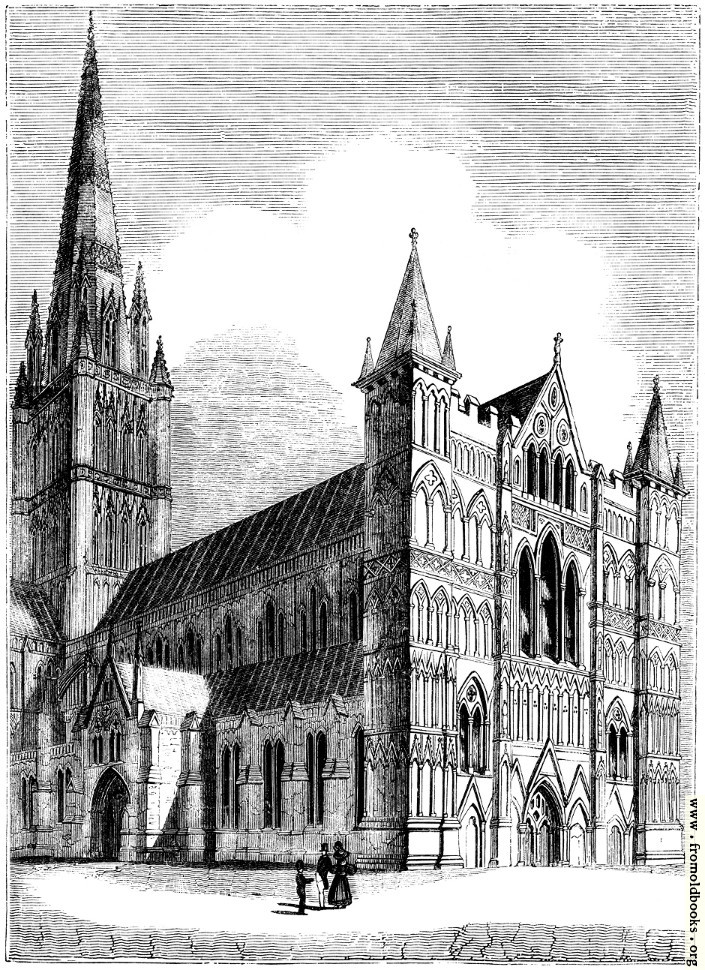 [Picture: 929.—North West View of Salisbury Cathedral.]