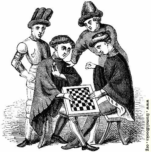 [Picture: 1145.—Playing at Draughts (Harleian MS. 4431)]